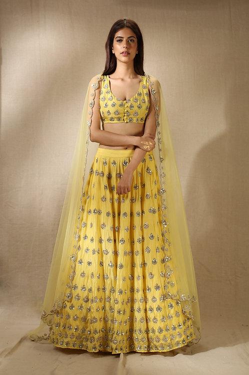 Yellow Sequins and Nakshi Work Lehenga