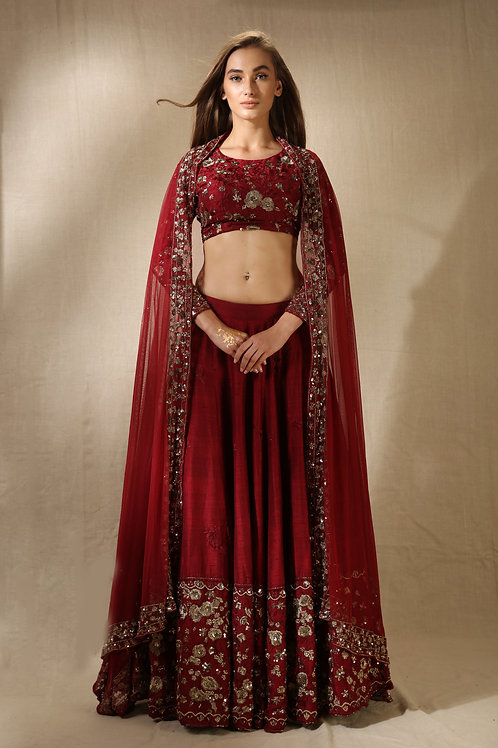 Maroon and Gold Threadwork and Sequins Lehenga