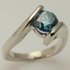 blue diamond / 14k white gold bypass