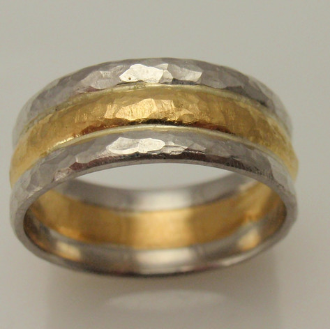 platinum and yellow gold three ring set