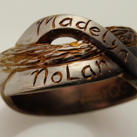 titanium rough engraved two name ring
