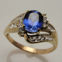 freeform sapphire and diamond ring