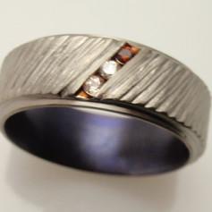 titanium ring w/ diaginal channel
