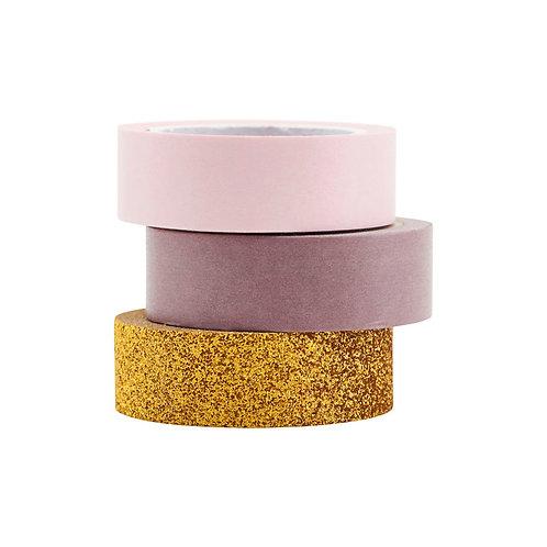 3er Set Washi Tape in gold mit Glitzer, Rose und Lavendel