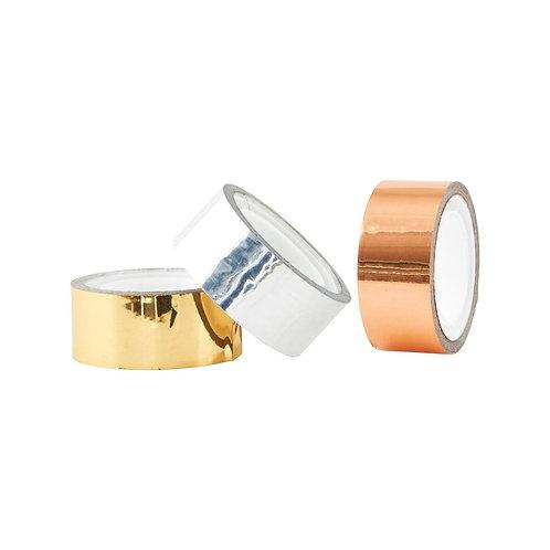 3er Set Metallic Tape in gold, silber und kupfer