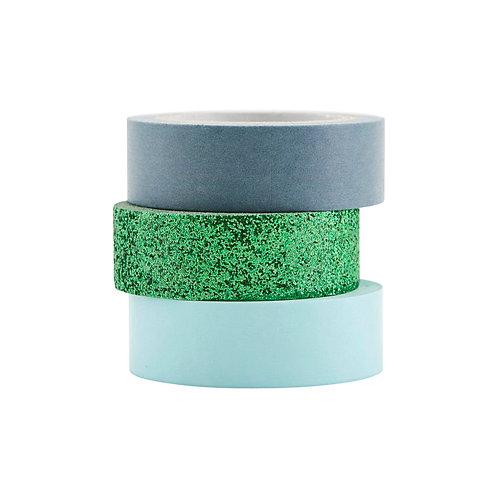 3er Set Washi Tape in grün mit Glitzer, hellblauund grau-blau
