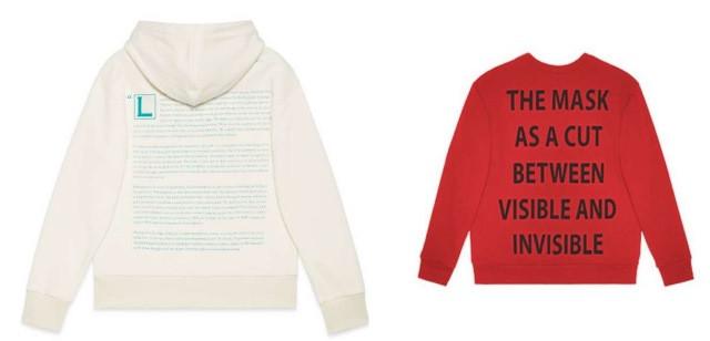 À esquerda, um ensaio sobre a máscara e à direita o slogan da coleção