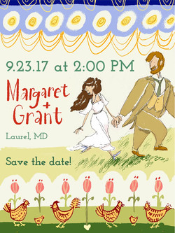 Illustrated & Lettered Wedding Invitation