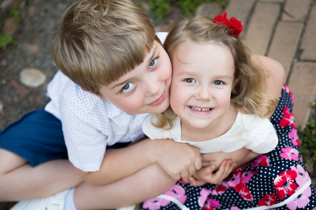 Portrait of a young brother and sister.