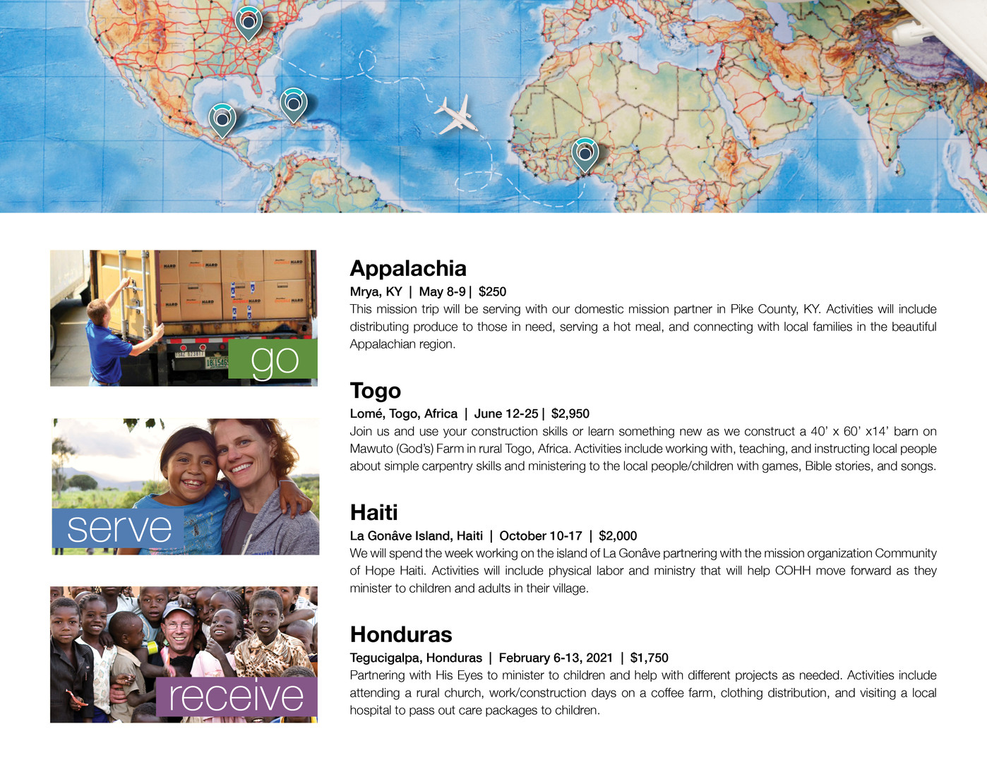 Interior of mission trip brochure