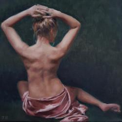 Sarah in silk, oil on canvas, 25x25cm