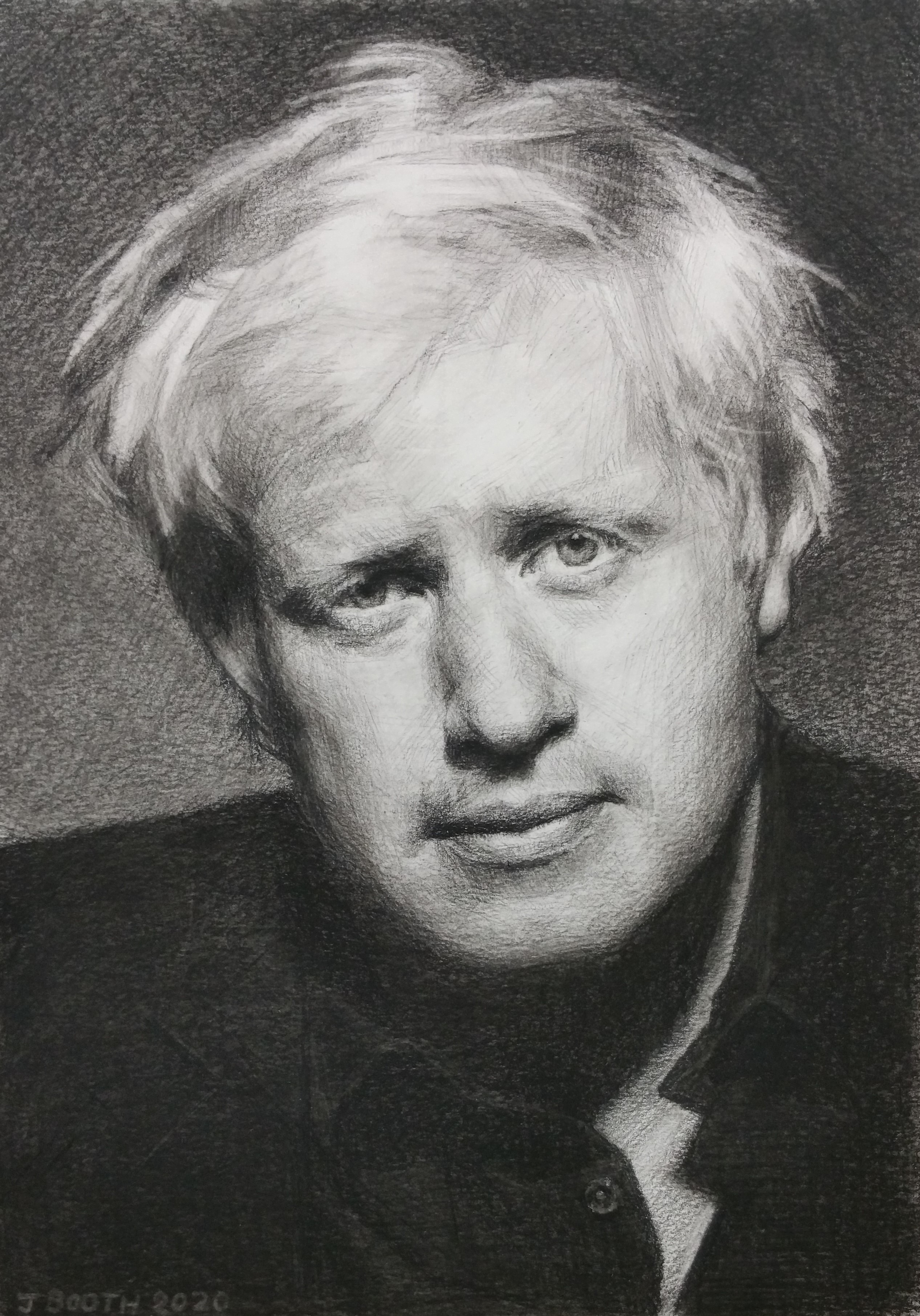 """Boris Johnson"", Charcoal on Bristol board, 20x30cm, SOLD"