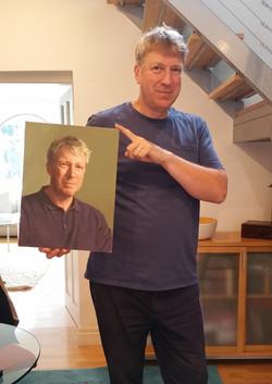 Kieron with his portrait