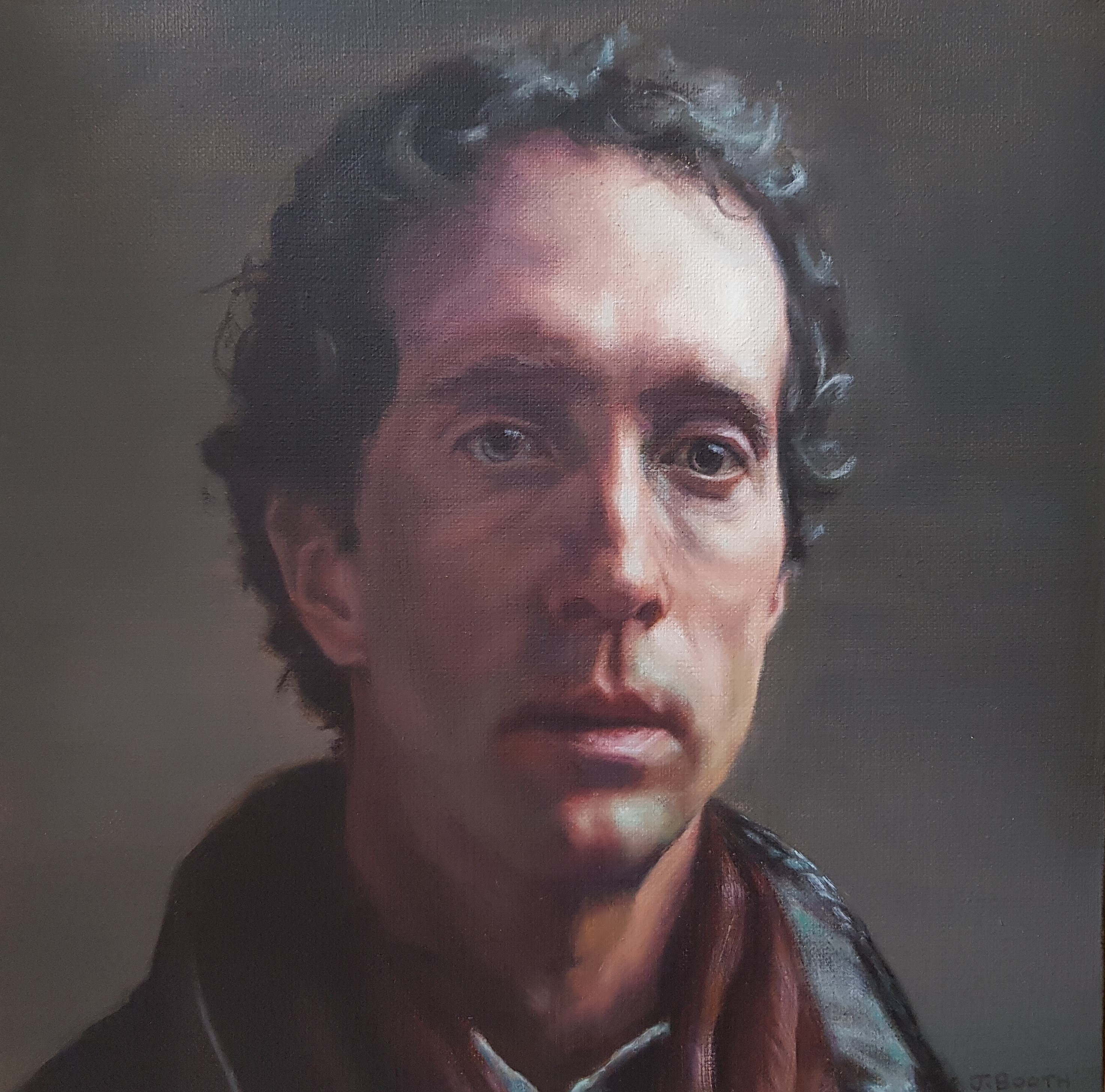 """Thoughtful"", oil on canvas, 30x30cm"