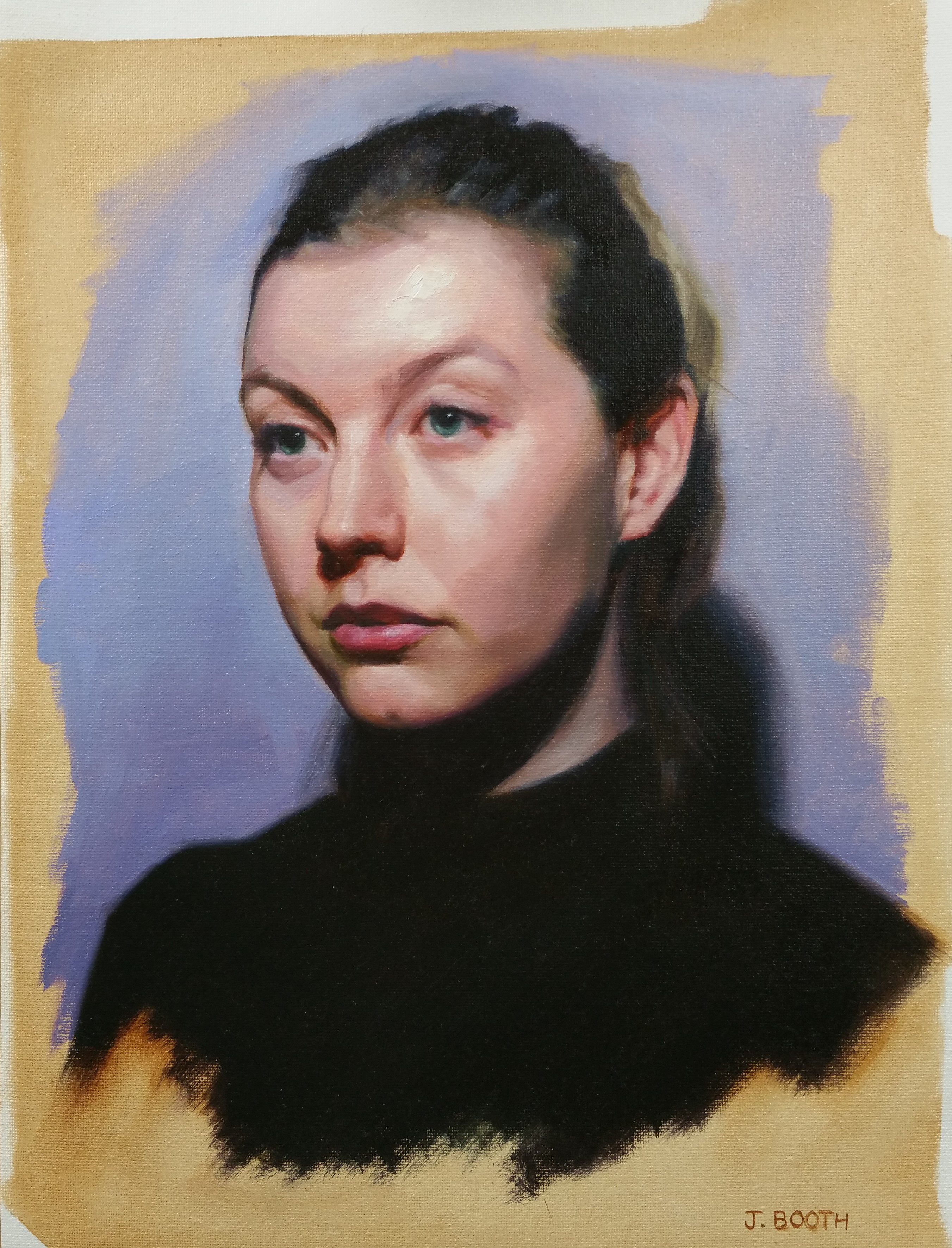 """Portrait of a young woman"", oil on canvas, 30x40cm"