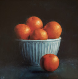 Oranges in blue bowl_oil on canvas_25x25cm SOLD