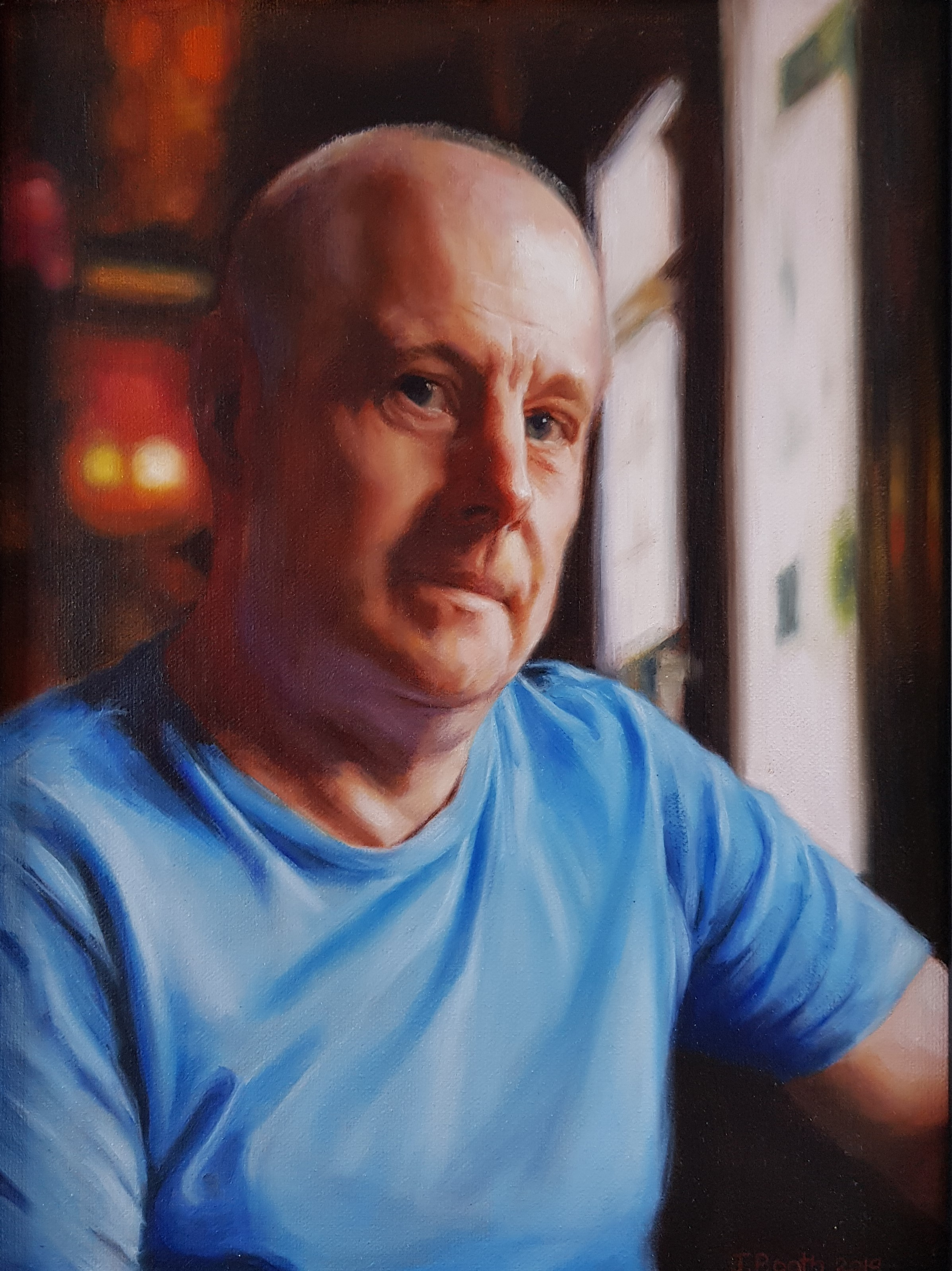 """Steve in the pub"", oil on canvas, 30x40cm, SOLD."