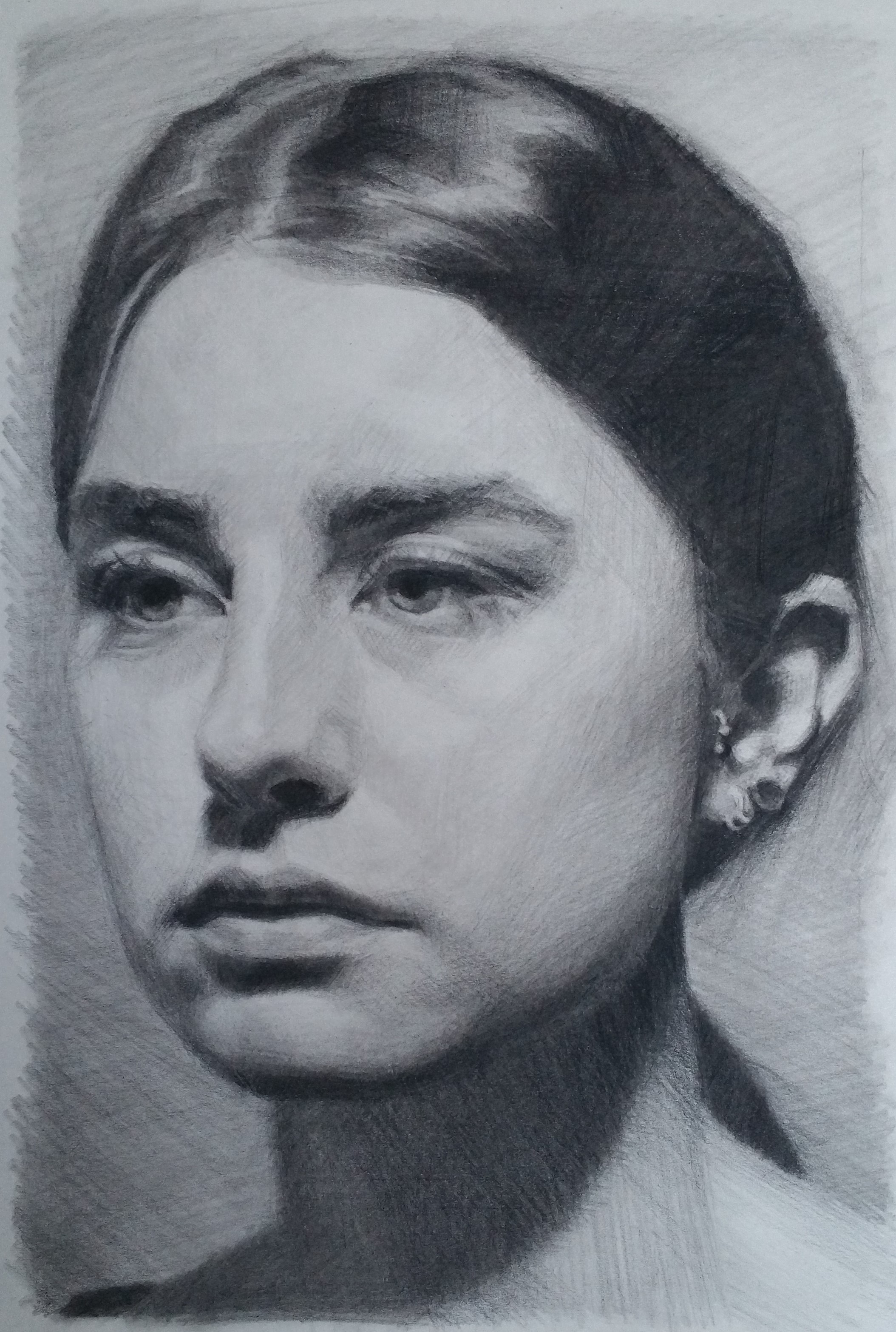 Woman with earrings, charcoal on newsprint, 20x30cm, SOLD