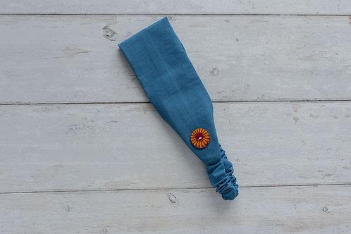 Handmade cotton headbands with side buttons PLAIN BLUE