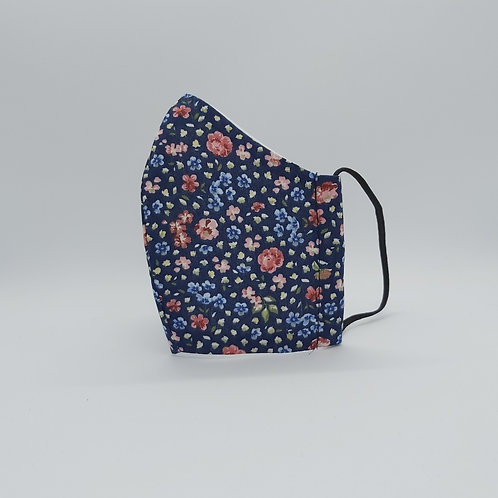 Reusable face mask WILDFLOWERS NAVY, dust mask, fabric mask