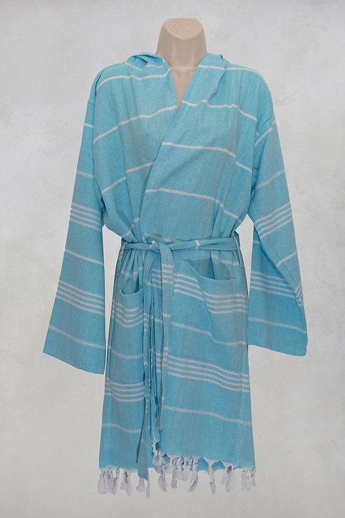 Traditional Turkish peshtemal bathrobe in turquoiuse