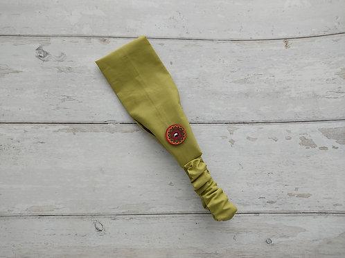 Handmade cotton headbands with side buttons PLAIN GREEN