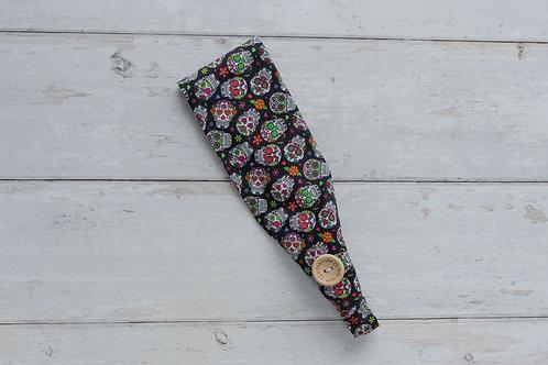 Handmade cotton headbands with side buttons CANDY SKULLS