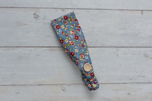 Handmade cotton headbands with side buttons HAPPY FLOWERS BLUE