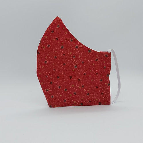 Reusable face mask Christmas stars in red