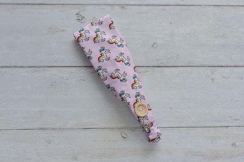 Handmade cotton headbands with side buttons PINK UNICORNS