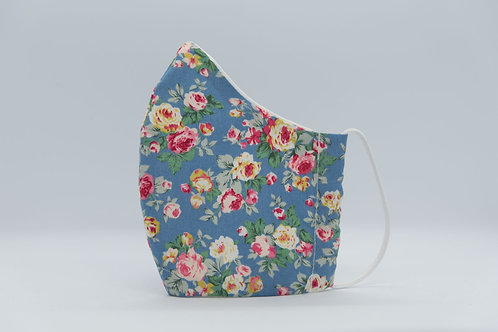 Reusable face mask blue roses