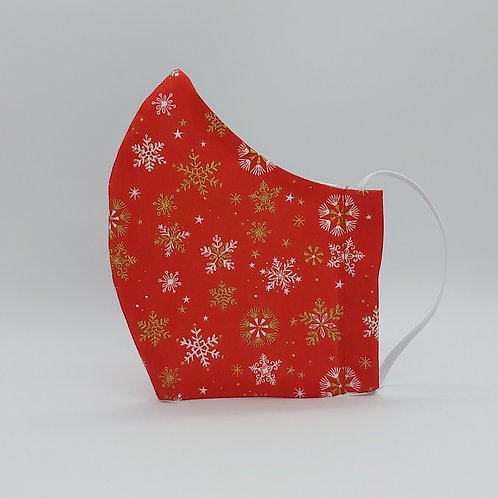 Reusable face mask Christmas snowflakes in red.jpg