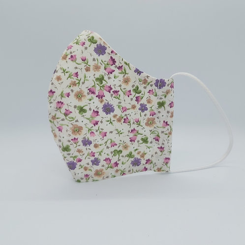 Reusable face mask WILDFLOWERS CREAM, dust mask, fabric mask