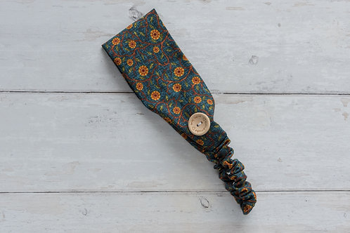 Cotton headband with side buttons SUNFLOWERS