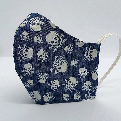 Reusable face mask SKULLS DENIM, dust mask, fabric mask, fabric mask