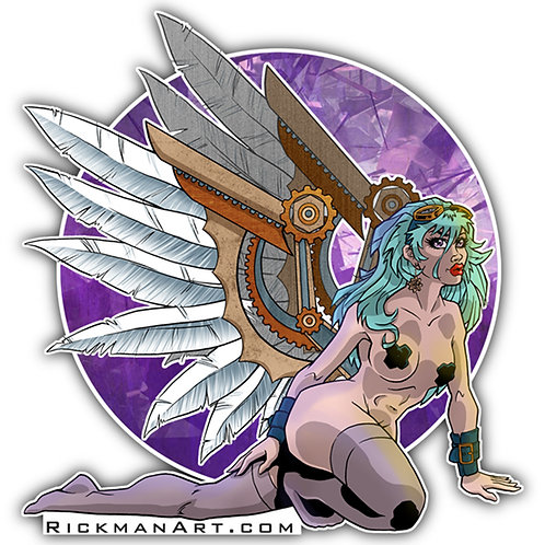 "Steampunk Angel 3"" Vinyl Sticker"