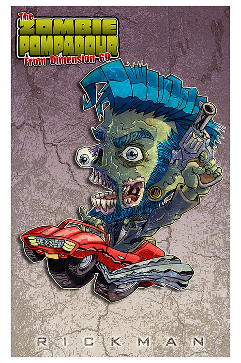 "Zombie Pompadour 11"" x 17"" Print"