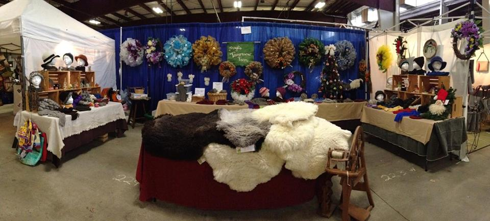 Mom's booth at the Wool Festival