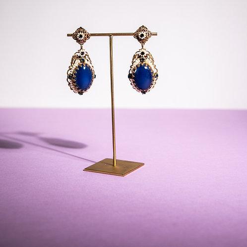 PARIS BIJOUX VINTAGE - Orecchini a clip perle e pietra color topazio