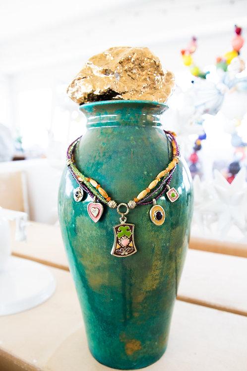 Collana fili di perle di vetro, perle di legno, e smalti /Nature Bijoux