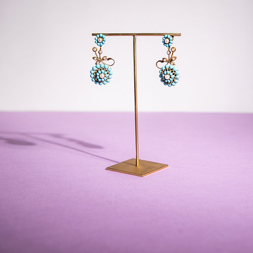 PARIS BIJOUX VINTAGE - Orecchini turchese e piccole perle