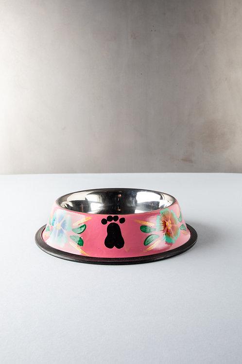 Pink Pampas - Ciotola per cane dipinta a mano - Messico