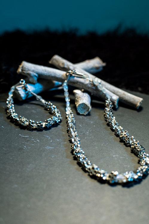 DELFINO FERRARI - Girocollo e bracciale in argento e cristallo di rocca