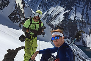 Chris Winters and Paul hiking up to ski the Super C couloir in Portillo, Chile