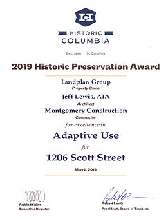 Historic Columbia Preservation Award Cer