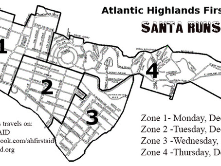 SANTA MEETING BIG CROWDS AND COLLECTING BAGS OF FOOD DURING THE ATLANTIC HIGHLANDS FIRST AID &