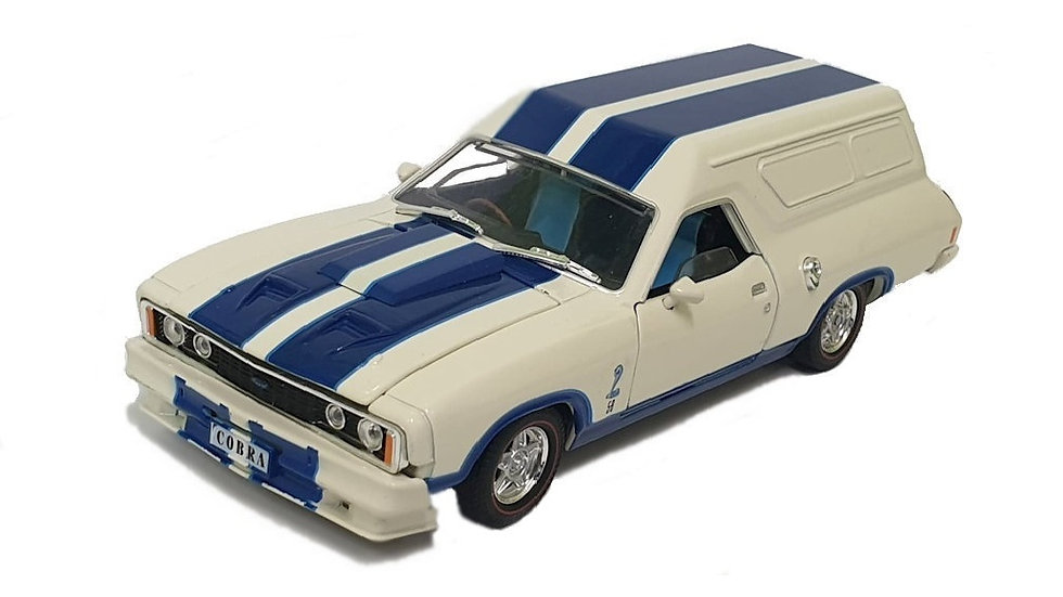 Oz Legends 1 32 White with Blue Stripes XC Cobra Ford Falcon Panelvan Diecast Ca
