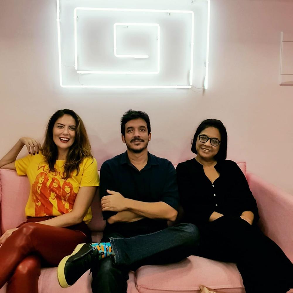 Bianca, Bruno e Regina - a Product Placement House. Imagem: Acervo pessoal