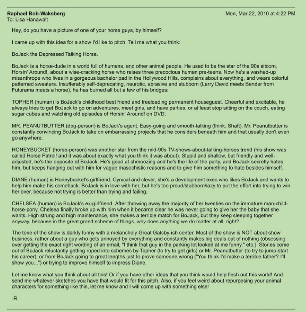 E-mail do argumento one-page original.