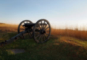 An authentic Civil War cannon sits at th